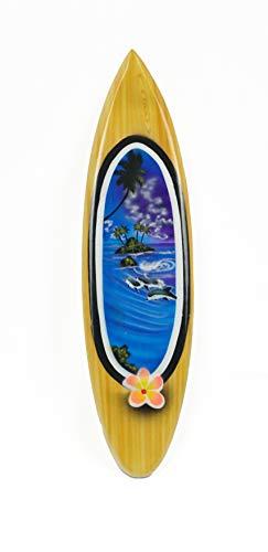 Asia Design Miniatur Surfboard Dekosurfboard Surfbrett Holz Wellenreiten Höhe 30 cm inkl. Holzständer Dekoration Nr 6