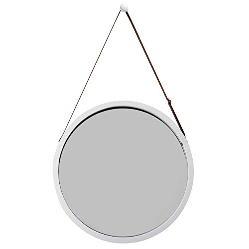 ZRI BAMBOO Wandspiegel Rund Flur Spiegel Badspiegel mit Verstellbarer Ledergürtel 38cm (Weiß, 38 cm)