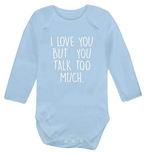 Flox Creative Gilet à Manches Longues pour bébé Love You But You Talk Trop - Bleu - M