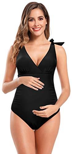 SHEKINI Bañador de Una Pieza Maternidad Mujer Cuello en V Correa de Hombro Ajustable Ties up Sin Espalda Tallas Grandes Ruched Una Pieza Trajes de Baño Bikini para Premamá Mujeres (Negro, XL)