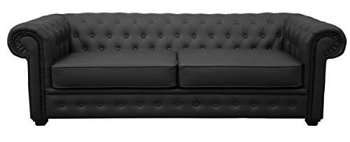 Sofas and More Venus Sofás, Cuero sintético, Black, 3 Seater