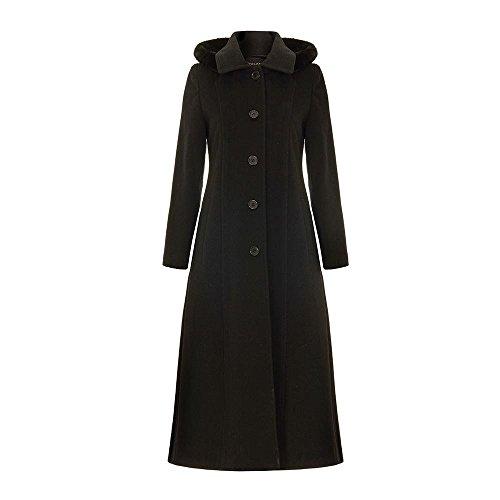 Anastasia - Winter Wolle Abnehmbare Kaschmir mit Kapuze Langen Mantel-Schwarz-Größe 48
