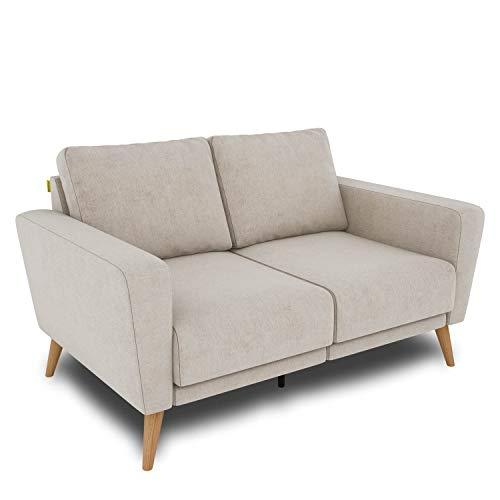 KAUTSCH Lotta Zweisitzer Sofa für Wohnzimmer zerlegbar - Couch 2-Sitzer - Polstersofa - B 144 cm - ohne Longchair - Creme - Holzfüße aus Eiche
