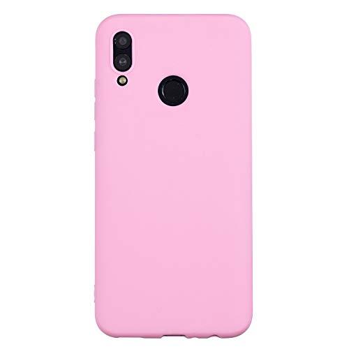 cuzz Custodia Huawei P Smart 2019+{Film di Vetro temperato}Silicone TPU Cover Morbida Protettiva Custodia Ultra Sottile Leggero Cover-Rosa Scuro