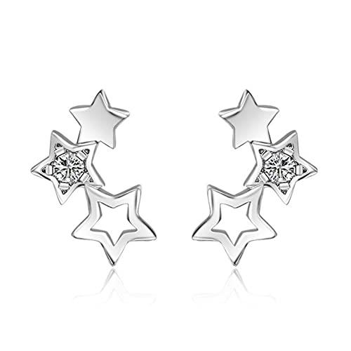 WWWL Pendiente 925 Sterling Silver Hollow Star Pendientes de Moda Simple Pendientes de circón cúbico para Mujer Boucle D'Oreille (Color : Silver)