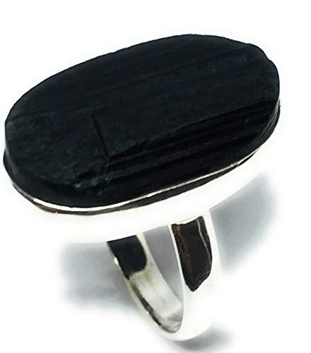 Anillo de plata de ley con turmalina negra natural con forma ovalada (tamaño 8)