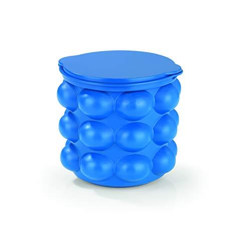 GOURMETmaxx 01315 Eiswürfelbehälter 3in1 blau Eisbehälter mit Silikon-Deckel | große Eiswürfel-Form | Eisformen leicht gemacht im Behälter
