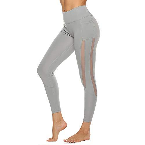 B/H Stretch Elastique Dames Pantalon De Yoga,Pantalon de Yoga en Maille latérale sans Couture, Pantalon de survêtement pour Femme avec Poches-Gary_M