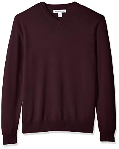Amazon Essentials Men's V-Neck Sweater, Burgundy, Medium