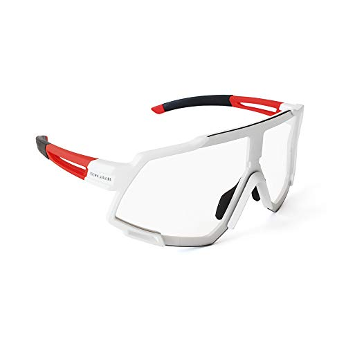 Brown Labrador Gafas fotocromaticas Ciclismo, Running Trail Running, BTT, Triatlon para Hombre y Mujer (White Red Black - WR)