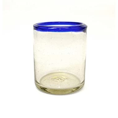 Set of 4, Handmade Mexican Blue Rimmed Rocks Glasses, Recycled Glass-14-16 oz