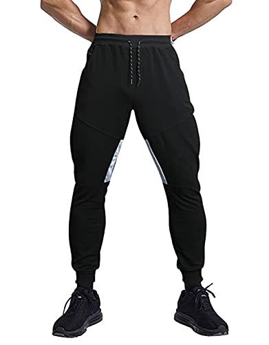 APTRO Herren Jogginghose Trainingshose Sport Hose mit Reissverschluss Taschen Joggers Streetwear LY01 Schwarz XL