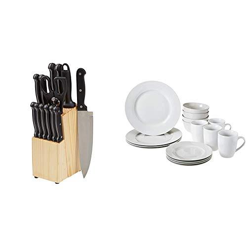 AmazonBasics Geschirrservice, 16-teilig, für 4 Personen & Messerblock, 14-teiliges Set
