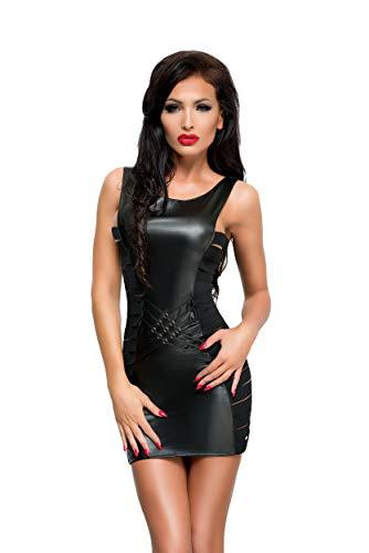 Selente Love & Fun Wet-Look Club/Mini-Kleid (Made in EU) aus hochwertigem Kunst/Lack-Leder in toller Geschenkbox, Gr. S/M schwarz mit Reißverschluss