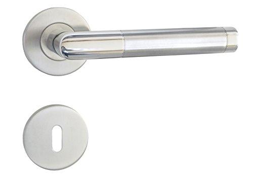 GARNITURA Emilia BB - Rosettengarnitur aus Edelstahl   Türbeschläge mit Türgriff   Rostfreie Renovierungsgarnitur für Zimmertüren und Innentüren