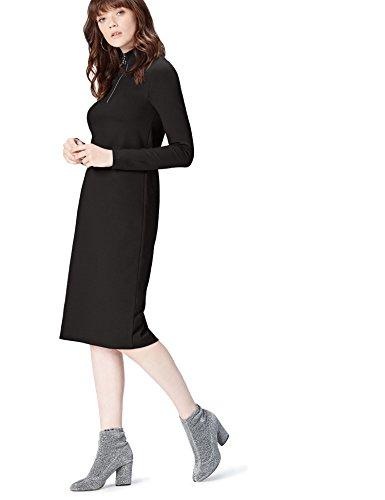 Marca Amazon - Find. Vestido Largo Para Mujer, Negro (Schwarz), 36, Label: XS