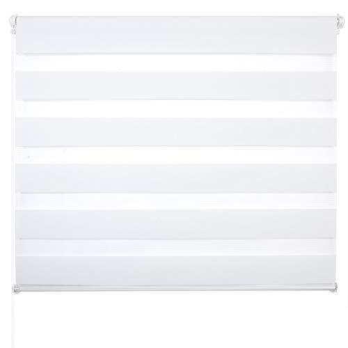 Laneetal Estores Enrollable Noche y Día Persiana Interior Doble Semi-Sombreado Bloquear los Rayos UV Proteger la Privacidad 100{f5ba4dd8f6c789ee8116eabce74b7f2e71bc5511674f51208badaa74e8930930} Poliéster 110 x 150 cm Blanco