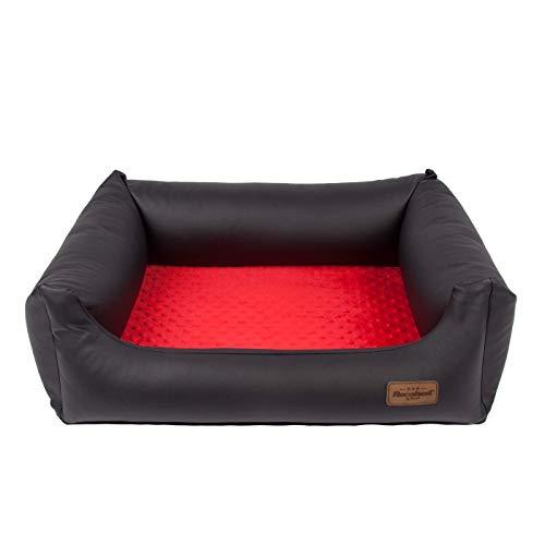 Exclusief modieus hondenbed Lincoln hondensofa hondenmand dierbed grote keuze kleurkeuze extreem moderne Minky binnen eco leder, L 100x80 cm, zwart/rood