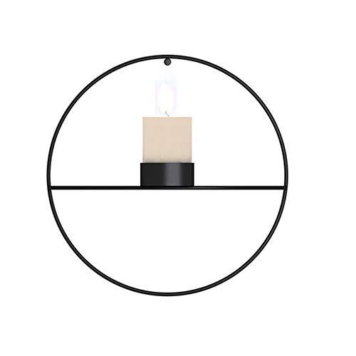 Win-Y Wandteelichthalter Metall Kerzenständer Wandkerzenhalter Kerzen- und Teelichthalter Hängend (Schwarz, A)