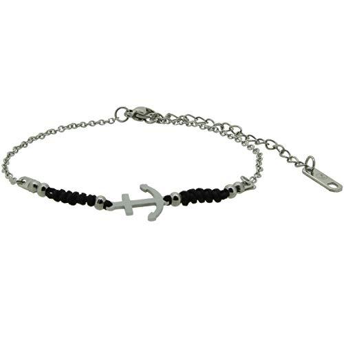 HAFEN-KLUNKER Harmony 110422 - Pulsera de ancla, acero inoxidable, color negro y plateado