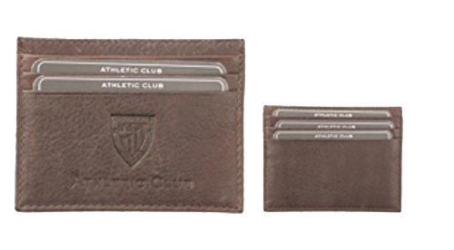 Tarjetero Oficial Athletic Club Bilbao de Piel en Color marrón Grabado con Escudo y Letras.