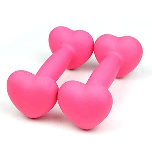 YouShang 2 kg*2 forma de corazón pesos rosa Dumbells par Dumbellsweights conjunto equipo de ejercicio para uso en el hogar hombres mancuernas conjuntos mujeres fitness