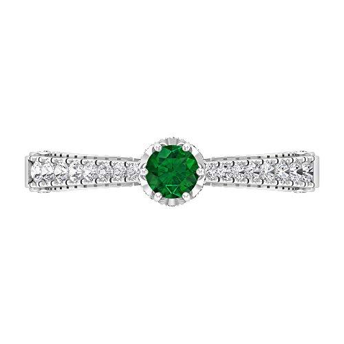 Anillo vintage de esmeralda, anillo de diamante, anillo solitario de oro con piedras laterales (esmeralda de 4 mm), 14K Oro blanco, esmeralda, Size:EU 50