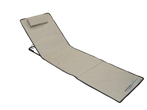 Meerweh Strandmatte XXL mit Lehne Strandliege Isomatte Picknickdecke ca. 200x60cm Sonnenliege, Beige, 200 x 60 x 68 cm