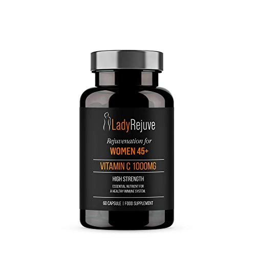 LadyRejuve Vitamin C Capsules | 60 Capsules | High Strength 1000mg | Vitamins for Immune System - Natural Antioxidant, Heart, Hair, Skin, Joint Health Support, Collagen Booster | Vegan & Non-Gluten