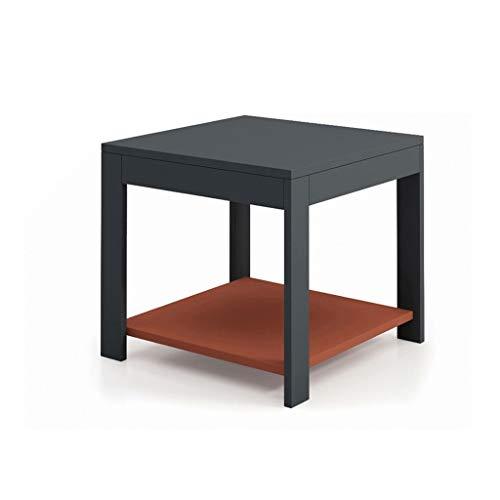 Minimalistischer Beistelltisch für Wohnzimmer Moderner minimalistischer Couchtisch Wohnzimmer Schlafzimmer 2-stöckiger kleiner Multifunktionstisch Quadrat Länge 500 mm × Breite 500 mm × Höhe 450 mm Na