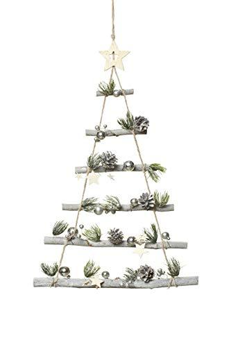 HEITMANN DECO Holz-Dekoration - Wanddeko - Tannenbaum zum Aufhängen - dekorierter Weihnachtsbaum - Baum mit Deko
