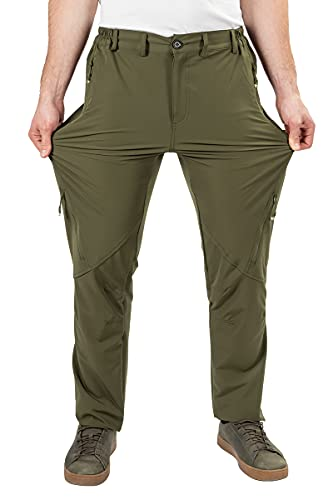 Postropaky Mens Hiking Quick Dry Lightweight Waterproof Fishing Pants Outdoor Travel Climbing Stretch Pants(Green32x32)