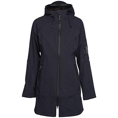 Ilse Jacobsen Klassiche Damen Jacke ¾ lang | Outdoor Regenjacke wasserdicht, Winddicht, atmungsaktiv mit Kapuze | aus Softshell, Polyester und Elastan | RAIN37 Blau 44