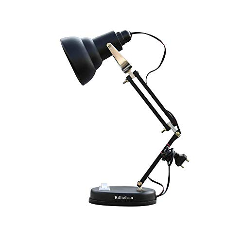 BillieJean Matte Black Reading And Studying Table Lamp, Pack of 1