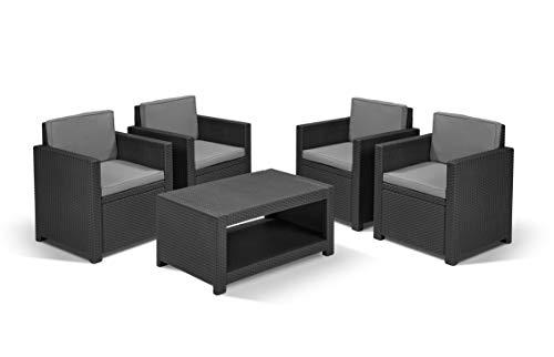 Koll Living Lounge-Set Nizza, 5-TLG. Graphit, 4 Sessel + 1 Tisch - ansprechende Sitzgruppe in Rattanoptik für den Garten, Terrasse oder Balkon - bequem und robust - wetterfest und langlebig