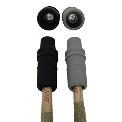 Silicone Cigarette Holder - Reusable Cigarette Filters with Filter Mesh Inside - New Premium Quality Joint Holder Tips Black and Grey Colors