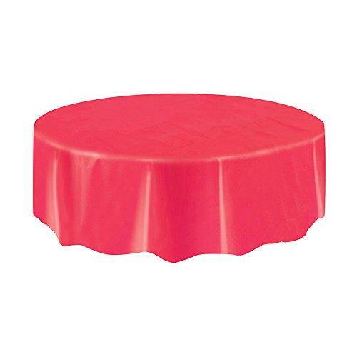 Unique UK 50338 Housse de Table Ronde et Courte Pliable en Plastique Rouge 84