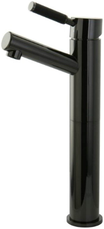 Kingston Brass NS8410DKL Water Onyx Single Handle Vessel Sink Faucet with Anti-slide Handle Sleeve Less Pop-up & Plate, Black Stainless Steel