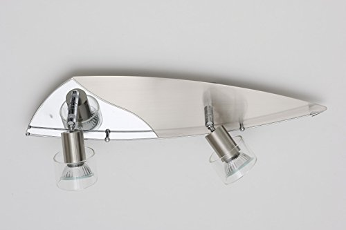 Halogen Decken-Strahler-Leuchte-Lampe-Spot mit Glaseinsatz GLORY 2 flammig inklusiv GU10-Leuchtmittel 2 x 50W Wand-Flur-Gang-Leuchte-Lampe-Spot-Strahler