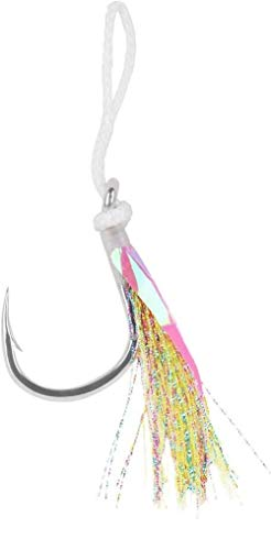 Mustad Heavy Duty Jigging Assist with White Flash Fishing Terminal Tackle (2 Pack), Multicolor, Size 6/0