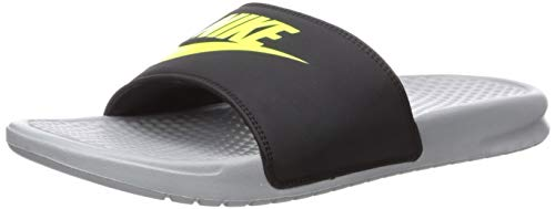 Nike Herren Men's Benassi just Do It. Sandal Dusch-& Badeschuhe, Mehrfarbig (Wolf Grey/Volt/Black 027), 42.5 EU