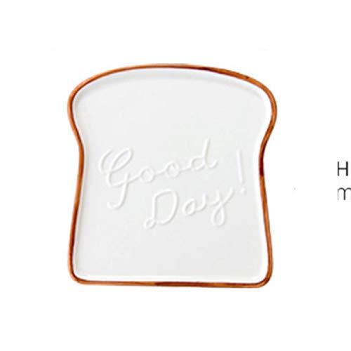 MENAGER Décoration Style européen Bosselage Plaques en céramique Creative Petit-déjeuner Pain Snack Plateau Dessert Plate Brown Bord Toast Motif en forme de table hoom Décoration ( Color : White )