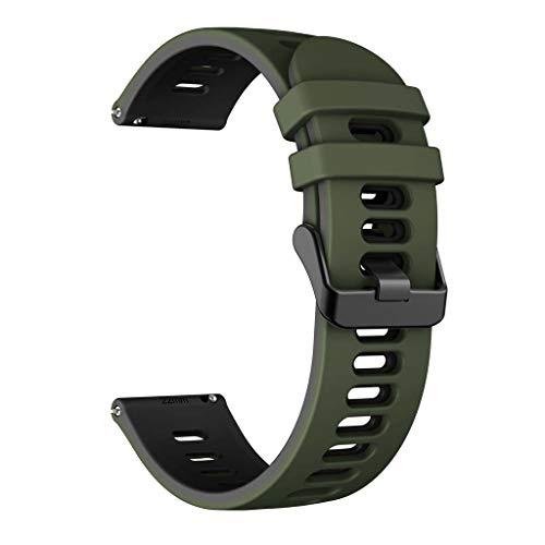 GROOMY Correa, Correa de Reloj Huawei Watch GT2 / -Samsung -GalaxyWatch3 / -AmazfitGTR Correa de Silicona-Army Green Black -20