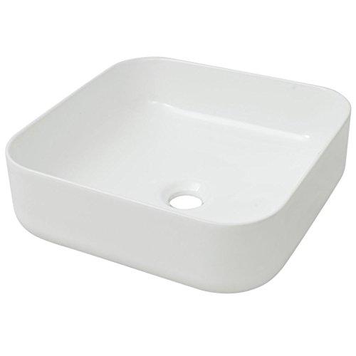 vidaXL Lavabo Moderno Cuadrado Cerámica Blanco Lavamanos Cuarto de Baño Aseo