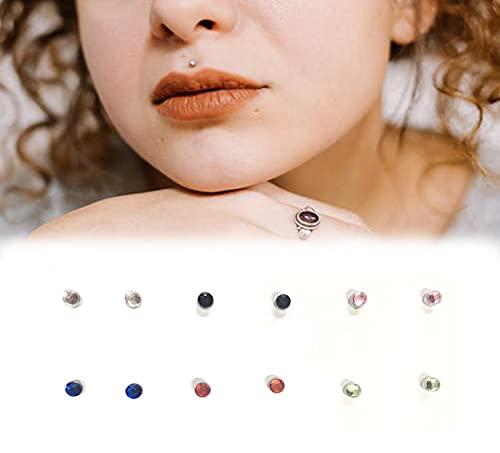 Tangyu 12 Pcs Magnetic Crystal Fake Earrings, Nose Rings Magnetic Non Piercing Stud, Crystal Magnetic Stud Earring Magnet Nose Ear Lip Stud Non Piercing for Women Men