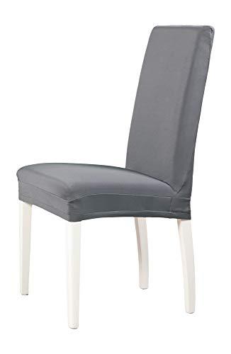 2-er Set Jersey Stuhlhusse | Elastische Stretch-Hussen | Stuhlhussen in Markenqualität | Elegante Stuhlbezüge | Grau