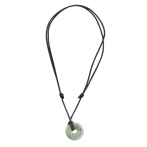 "NOVICA Light Green Natural Jade Pendant Adjustable Length Necklace, 13.5"" 'Mayan Circle of Love'"