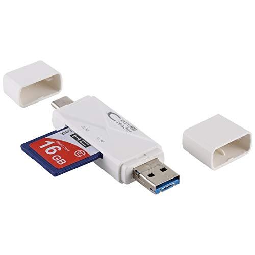 USB-C/Type-C + SD + TF + Micro USB a USB 3.0 Lector de Tarjetas Durable (Color : White)