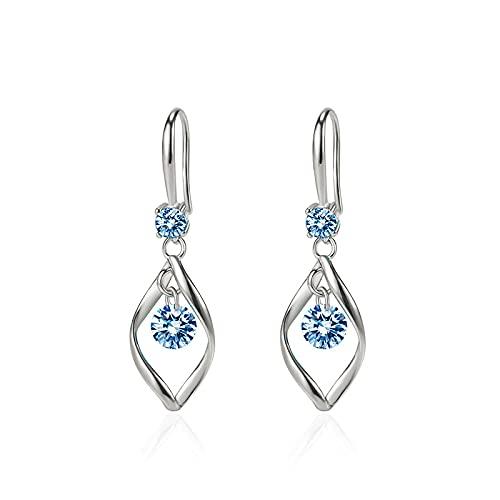 Pendientes de cristal azul marino con pendientes de diamante