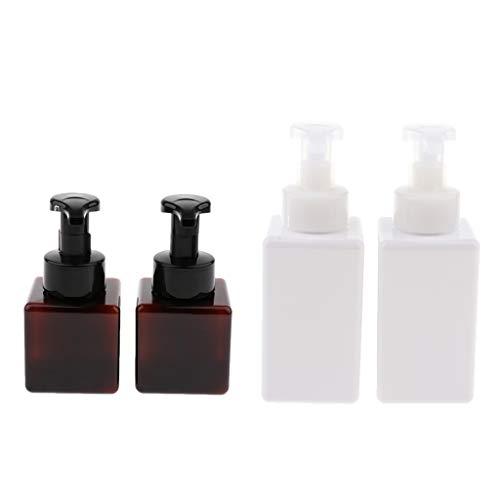 F Fityle Paquete de 4 Dispensadores de Jabón Espumoso Recargables de Plástico, Frascos para Botellas, para Baños, Cocinas, Hoteles, 250 + 450 Ml